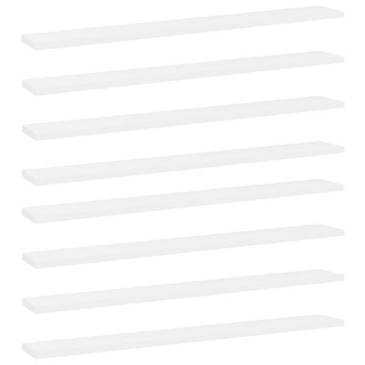 vidaXL 8 db fehér forgácslap könyvespolc 80 x 10 x 1,5 cm