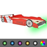 vidaXL piros versenyautó alakú LED-es gyerekágy 90 x 200 cm