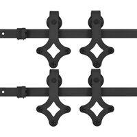 vidaXL 2 darabos fekete acél tolóajtó-szerelvényszett 183 cm