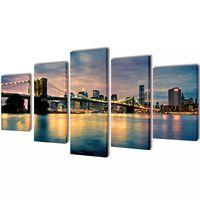 Nyomtatott vászon falikép szett Brooklyn híd a folyóval 200 x 100 cm