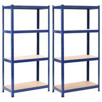 vidaXL 2 db kék acél és MDF tárolópolc 80 x 40 x 160 cm