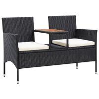 vidaXL 2 személyes fekete polyrattan kerti pad teázóasztallal 143 cm