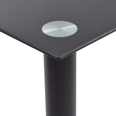 vidaXL 5-részes fekete/fehér acél és edzett üveg étkezőgarnitúra