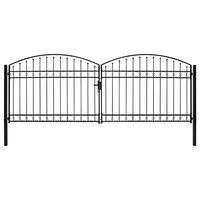 vidaXL ívelt tetejű kétajtós fekete acél kerítéskapu 400 x 150 cm