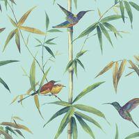 Noordwand türkiz kolibri és bambusz tapéta