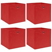 vidaXL 4 db piros szövet tárolódoboz 32 x 32 x 32 cm