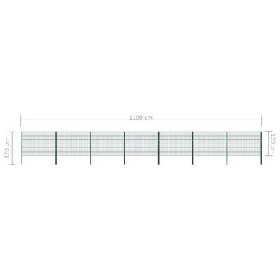 vidaXL zöld vas kerítéspanel oszlopokkal 11,9 x 1,2 m