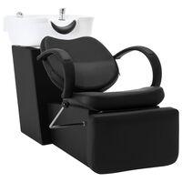 vidaXL fekete-fehér műbőr fejmosó szék mosdókagylóval