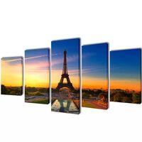 Nyomtatott vászon falikép szett Eiffel-torony 100 x 50 cm