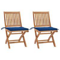 vidaXL 2 db tömör tíkfa kerti szék királykék párnákkal