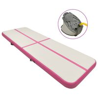 vidaXL rózsaszín PVC felfújható tornamatrac pumpával 300 x 100 x 15 cm