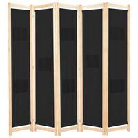 vidaXL fekete 5-paneles szövetparaván 200 x 170 x 4 cm
