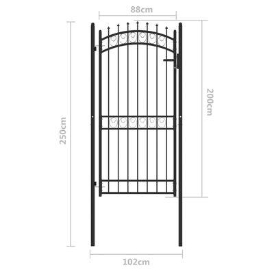 vidaXL fekete acél kerítéskapu cövekekkel 100 x 200 cm
