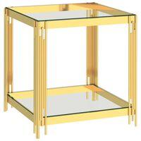 vidaXL aranyszínű üveg és rozsdamentes acél dohányzóasztal 55x55x55 cm