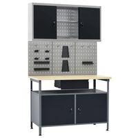 vidaXL munkapad három fali panellel és egy szekrénnyel