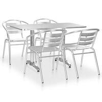 vidaXL 5-részes ezüstszínű alumínium kültéri étkezőszett