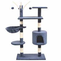 vidaXL sötétkék macskabútor szizál kaparófákkal 125 cm