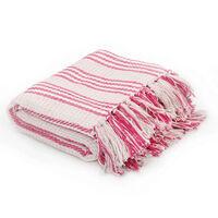 vidaXL rózsaszín/fehér, csíkos pamut pléd 160 x 210 cm