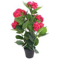 vidaXL műhortenzia virágcseréppel 60 cm piros