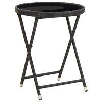 vidaXL fekete polyrattan és edzett üveg teázóasztal 60 cm
