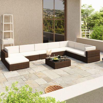 vidaXL 8-részes barna polyrattan kerti bútorszett párnákkal