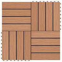 vidaXL 11 db (1 m2) tíkfa színű dombornyomott WPC burkolólap 30x30 cm