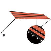 vidaXL narancssárga és barna feltekerhető napellenző LED-del 400 x 150 cm