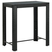 vidaXL fekete polyrattan kerti bárasztal 100 x 60,5 x 110,5 cm