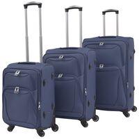 vidaXL 3 darabos, tengerészkék, puha falú görgős bőrönd szett