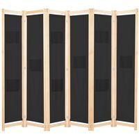 vidaXL fekete 6-paneles szövetparaván 240 x 170 x 4 cm