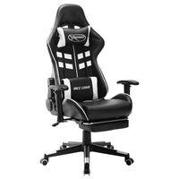 vidaXL fekete és fehér műbőr gamer szék lábtámasszal