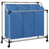 vidaXL kék acél szennyesszortírozó 3 zsákkal