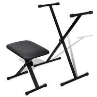 Állítható billentyűzet állvány és szék készlet