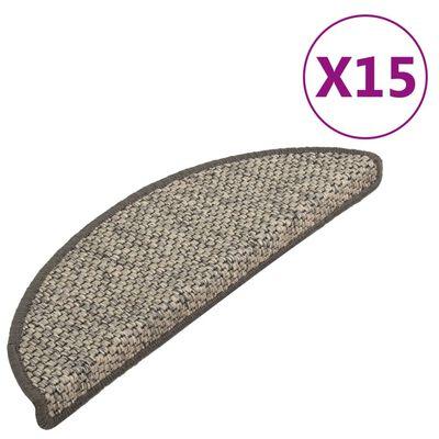 vidaXL 15 db szizál hatású antracitszürke lépcsőszőnyeg 65 x 25 cm