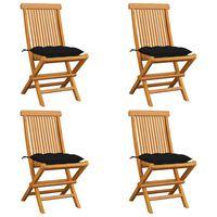 vidaXL 4 db tömör tíkfa kerti szék fekete párnákkal