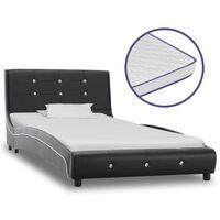vidaXL fekete műbőr ágy memóriahabos matraccal 90 x 200 cm