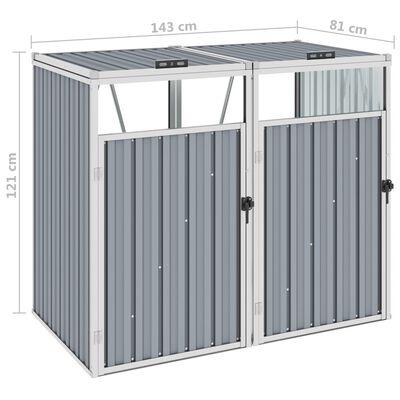 vidaXL szürke acél kukatároló 2 db kukához 143 x 81 x 121 cm