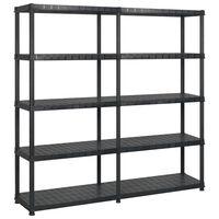 vidaXL fekete műanyag 5 szintes tárolópolc 183 x 45,7 x 185 cm
