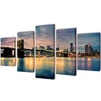 Vászon falikép szett színes brooklyni híd és víz kilátás 100 x 50 cm