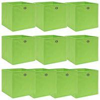vidaXL 10 db zöld szövet tárolódoboz 32 x 32 x 32 cm