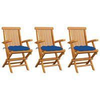 vidaXL 3 db tömör tíkfa kerti szék kék párnával