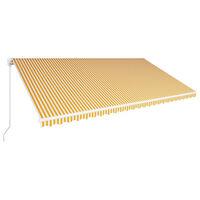 vidaXL sárga és fehér kézzel kihúzható napellenző 600 x 300 cm