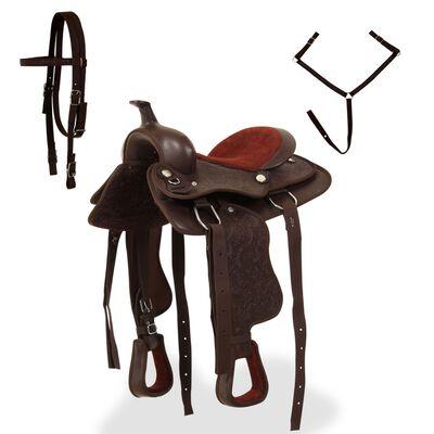 """vidaXL barna valódi bőr western nyereg, kötőfék és nyakhám 12"""""""