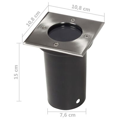 vidaXL 12 db négyzet alakú kültéri talajba építhető lámpa