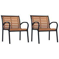 vidaXL 2 db fekete és barna acél és WPC kerti szék