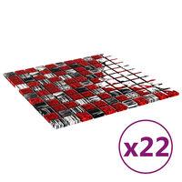 vidaXL 22 db fekete-piros öntapadó üveg mozaikcsempe 30 x 30 cm