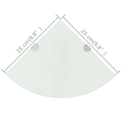 vidaXL 2 db fehér üveg sarokpolc krómtartóval 25 x 25 cm