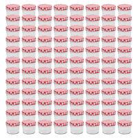 vidaXL 96 db 110 ml-es befőttesüveg piros-fehér tetővel