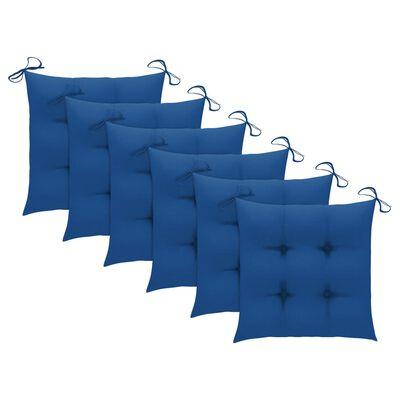 vidaXL 6 db tömör tíkfa kerti szék kék párnával