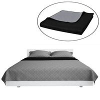Kétoldalú vattázott ágytakaró 220 x 240 cm fekete/szürke